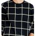 Men's Black Cotton Checked Full Sleeve Round Neck T-Shirt