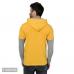 Men's Yellow Cotton Blend Self Pattern Hooded Tees