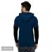 Men's Blue Cotton Blend Self Pattern Hooded Tees