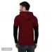 Men's Maroon Cotton Blend Self Pattern Hooded Tees