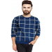 Men's Blue Cotton Checked Full Sleeve Round Neck T-Shirt