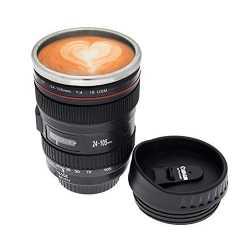Camera Lens Shape Plastic Coffee Mug with 2 Lid 220ml Black