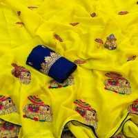 MDS Lemon Yellow Georgette Saree