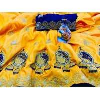 MDS Lemon Yellow Sana Silk Saree