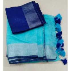 Slub Linen Cotton Handloom Saree with Contrast Blouse Piece