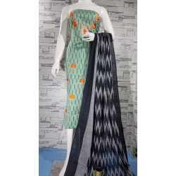 Embroidered Designer Cotton Khadi Ikkat Top and Cotton Khadi Ikkat Dupatta for Girls/Women