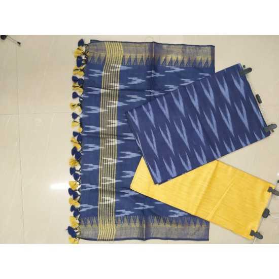Cotton Ikkat Top & Bottom and Cotton Golden Temple Dupatta for Girls/Women