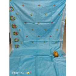 Cotton Slub Embroidered Saree with Running Blouse Piece