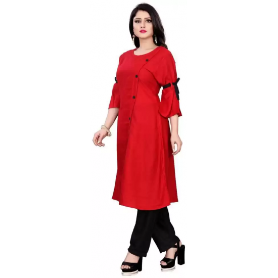 Women Solid Rayon A-line Kurti  (Red)