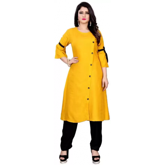 Women Solid Rayon A-line Kurti  (Yellow)
