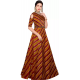 Striped Art Silk Stitched Flared/A-line Gown  (Maroon)