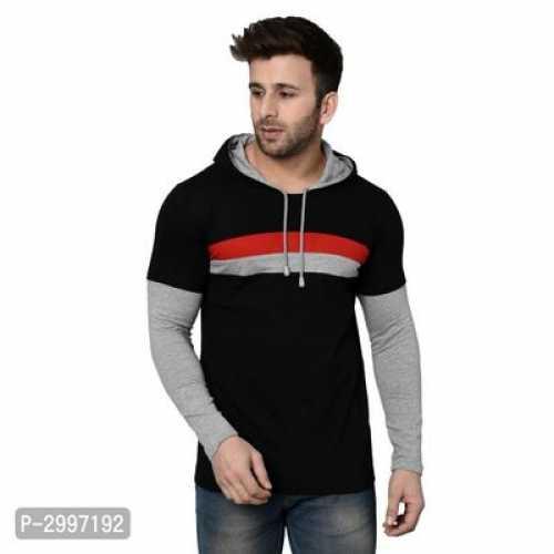 Men's Black Cotton Blend Self Pattern Hooded Tees