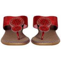 Z Plus Women's Maroon Barbour Wedges Sandal