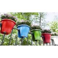 Balcony Railing Planter Pot (Multicolour) - Set of 3