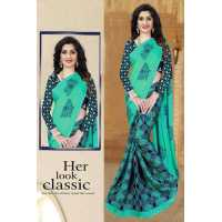 SK Fabric Moss Chiffon Saree Printed with Blouse Benglori