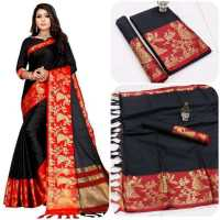 AURA Women's Cotton Saree with Blouse Piece