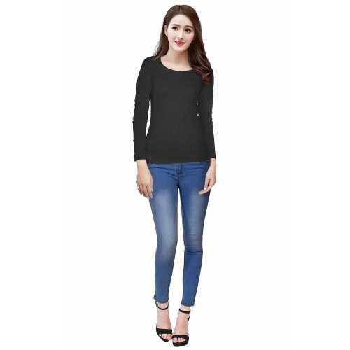 Tipsy Black Full Sleeves Knitting Designer T-Shirt