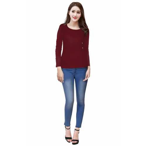 Tipsy Maroon Full Sleeves Knitting Designer T-Shirt