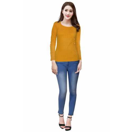 Tipsy Yellow Full Sleeves Knitting Designer T-Shirt