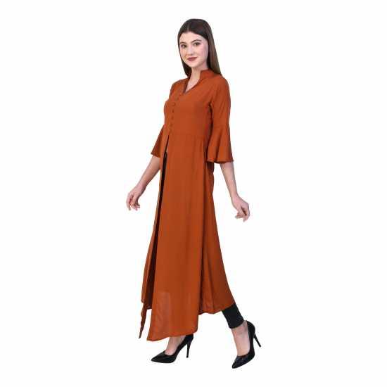 Partywear Rayon Front Split Long Kurti for Girls/Women