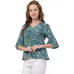 Casual Flared Sleeve Floral Print Women Green Top