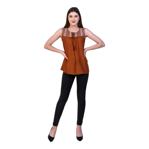 Casual Sleeveless Solid Women Brown Top