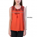 Casual Sleeveless Solid Women Orange Top