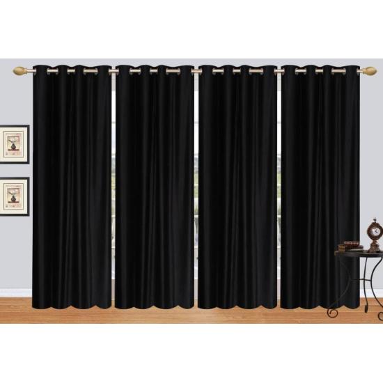 Plain Cursh Eyelite  213 cm (7 feet) Polyester Door Curtain, Black (Pack Of 1)