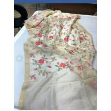 Silk Linen Saree with Beautiful Embroidered Design and Running Blouse Piece