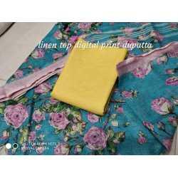 Linen Digital Print Dupatta with Linen Top Fabrics and No Bottom