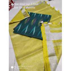 Tissue Linen Dupatta with Cotton Ikkat Top Fabrics and No Bottom